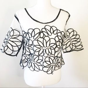Shein Sheer Embroidered Floral White Top L